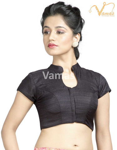 Black Color Jute Stitched Blouse - x-506sl-black