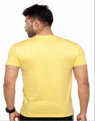 Yellow Color Cotton Polyster Blend Men T-Shirt - image002