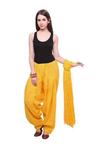 COMBOS - Yallow Color Cotton Stitched Women Patiala Pant With Duppata - Yallow