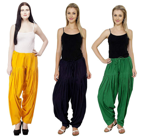 COMBOS  - Yallow And Navy And Green Color Cotton Stitched Women Patiala Pants - yallow_navy_green