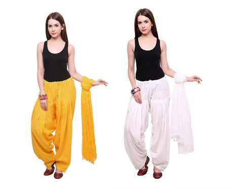 COMBOS - Yalowwhite Color Cotton Stitched Women Patiala Pants With Dupata - Yalowwhite