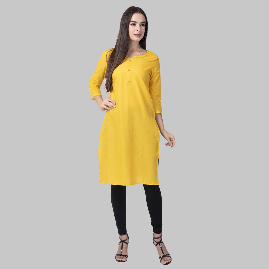 Buy Yellow Color Cotton Women's Stitched Kurti