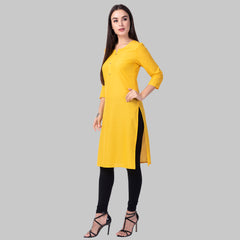 Yellow Color Cotton Women's Stitched Kurti - yellow-cotton-kurta