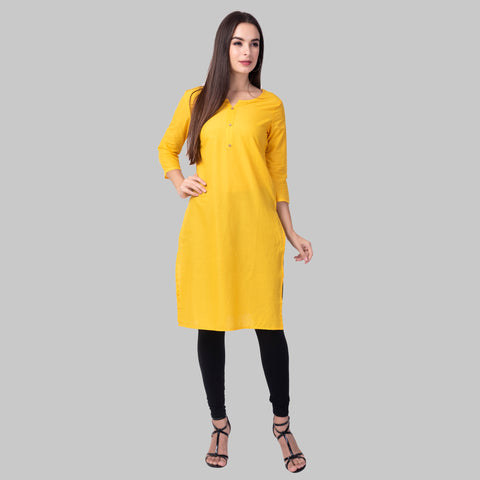Multi Colors Cotton Women's Plain Kurtis