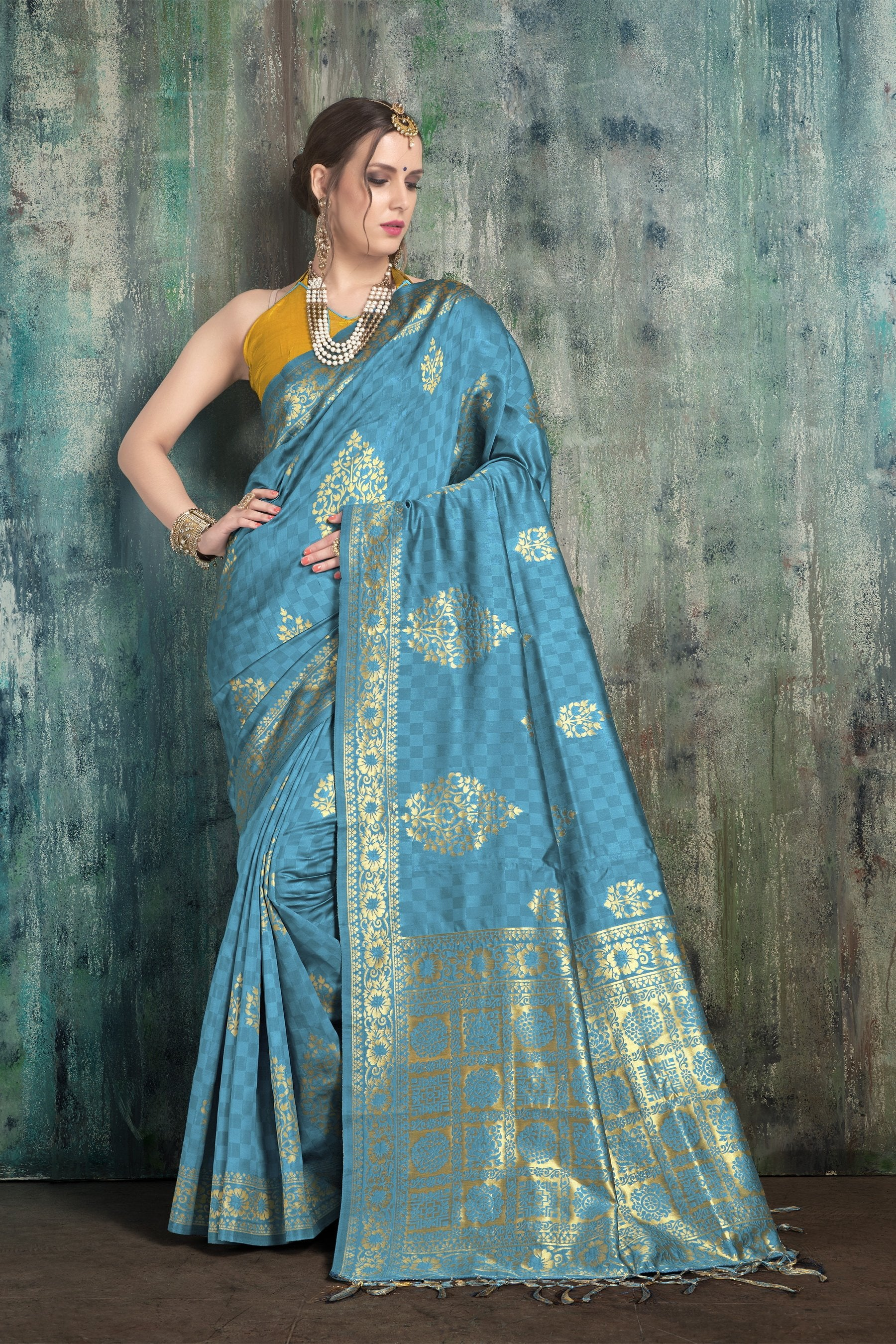 9c33d7d0f3995 Buy Turquoise Blue Color Banarasi Art Silk Saree