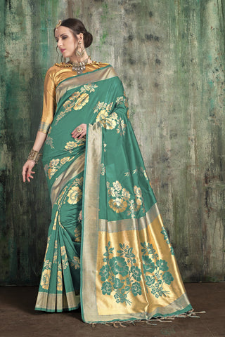 Green Color Banarasi Art Silk Saree - ynd-28090
