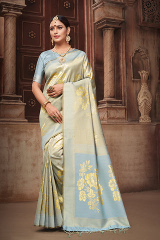 Olive Green Color Banarasi Art Silk Saree - ynd-28828