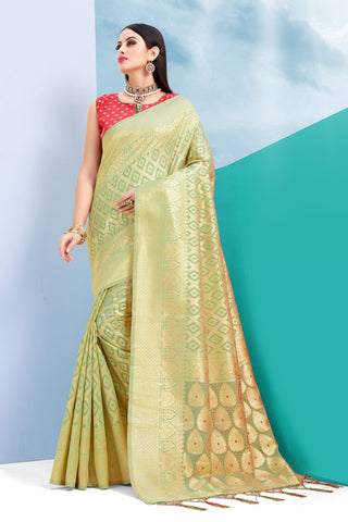 Green And Gold Color Cotton Jacquard Saree - ynd-28931