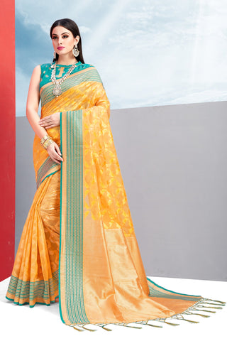 Yellow Color Cotton Jacquard Saree - ynd-28934