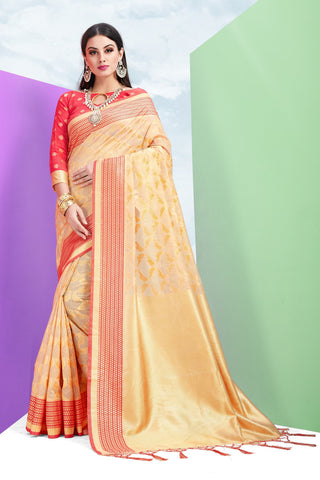 Cream Color Cotton Jacquard Saree - ynd-28936