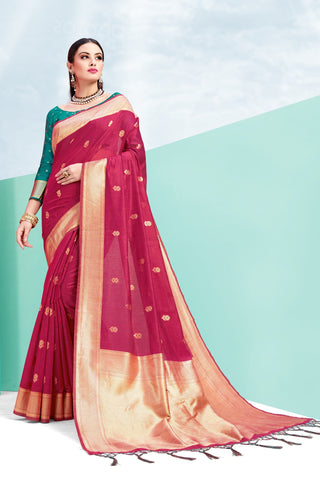 Magenta Pink Color Cotton Jacquard Saree - ynd-28937