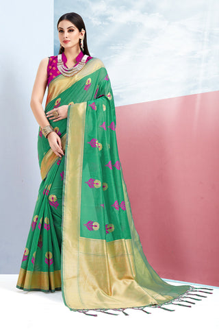 Green Color Cotton Jacquard Saree - ynd-28938