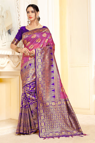 Blue And Pink Color Linen Silk Saree - ynd-29002