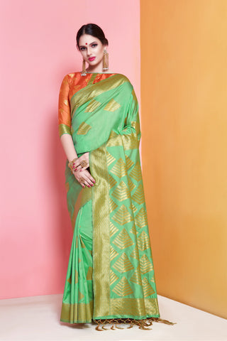 Lime Green Color Banarasi Soft Art Silk Saree - ynd-29139