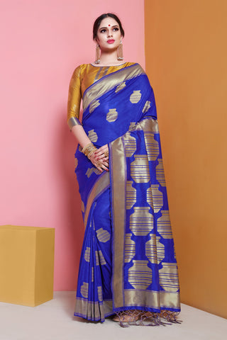 Blue Color Banarasi  Soft Art Silk Saree - ynd-29140