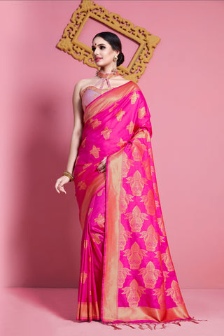 Pink Color Banarasi  Soft Art Silk Saree - ynd-29141
