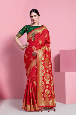 Red Color Banarasi  Soft Art Silk Saree - ynd-29142