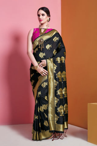Black Color Banarasi  Soft Art Silk Saree - ynd-29143