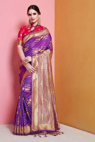 Purple Color Banarasi  Soft Art Silk Saree - ynd-29144