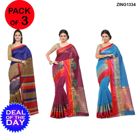 DOTD-Cotton Silk And Bhagalpuri Sarees - YNF-28732 , YNF-28731 , YNF-28678