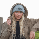 Heather Grey Rolled Beanie