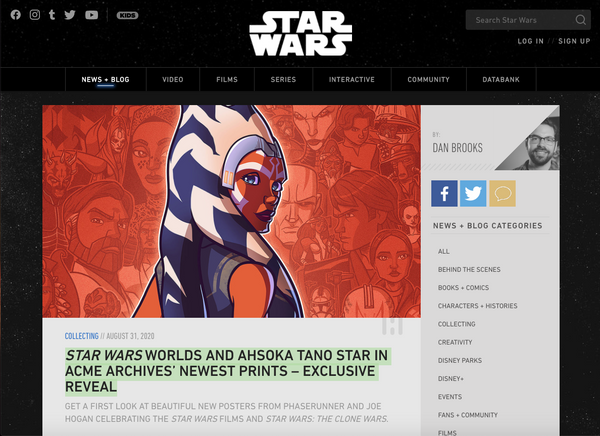 STAR WARS WORLDS AND AHSOKA TANO STAR IN ACME ARCHIVES' NEWEST PRINTS – EXCLUSIVE REVEAL - Read the article by Starwars.com on our new pieces!