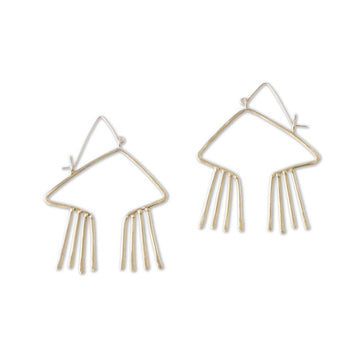 Sky Phaebl bronze and gold open, obtuse triangular earrings with hammer textured fixed fringe.  Handmade with gold ear wires to protect against base metal sensitivity.