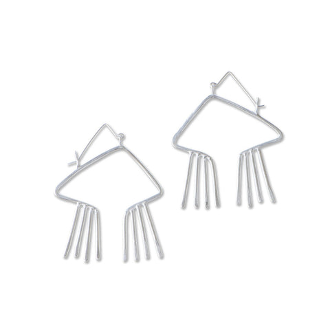 Obtuse, open triangular earrings feature hammer textured fixed fringe with small metal bead detail. Handmade in sterling silver.