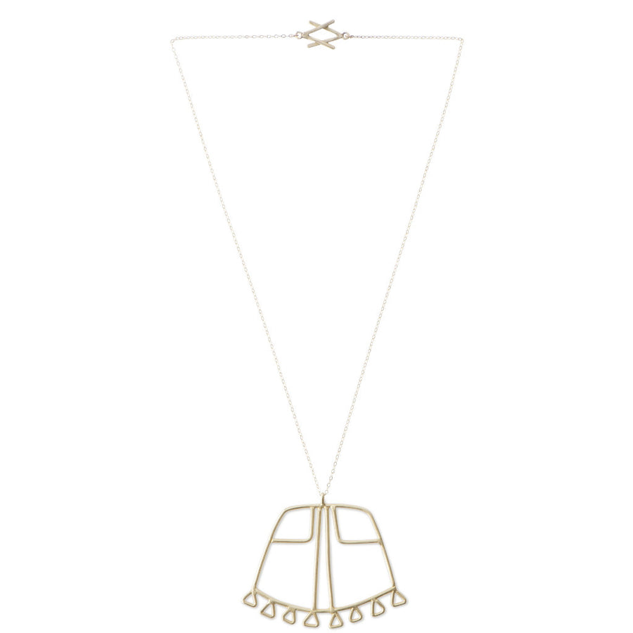 Full view of Sky Phaebl curved trapezoid pendant featuring triangular fixed fringe along the base and an inner linear filigree detail. Shown in bronze on a gold-filled fine chain with interlocking signature V clasp.