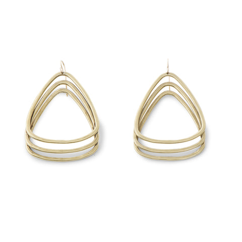 Sky Phaebl handmade bronze and gold dangling earrings. Large and lightweight series of three broadly curved triangles.