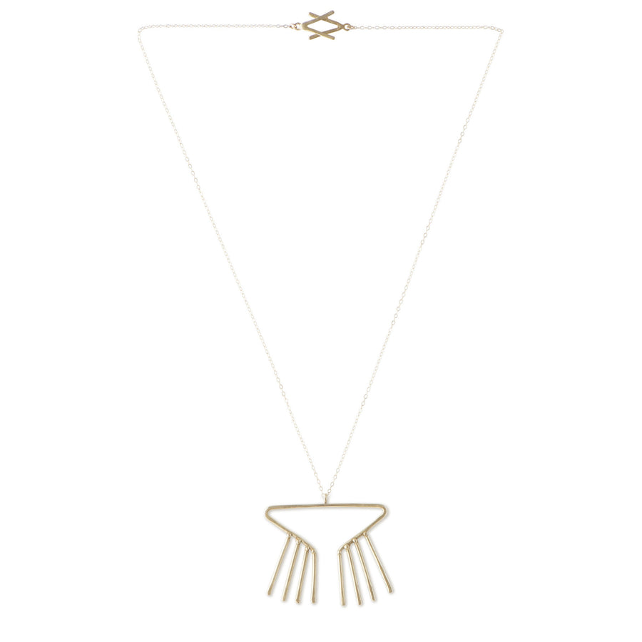 Sky Phaebl's Merak bronze necklace. Open triangular pendant with fixed fringe and slight hammer texture on fine gold-filled chain. Features small bead detail and signature V clasp.