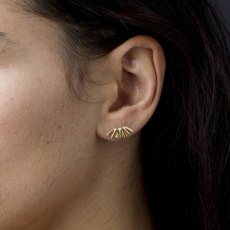 Minimalistic patterned gold studs. Inspired by the light of dawn. Handmade by Sky Phaebl