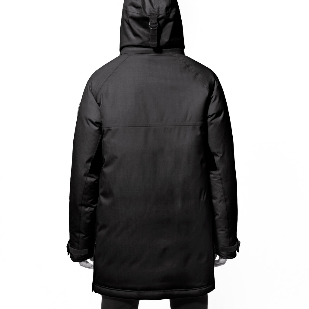 Men's thigh length down-filled parka with removable hood and removable coyote fur trim in Black | color