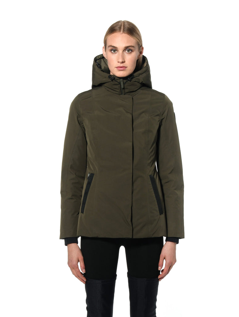 Ladies hip length down-filled parka with non-removable hood and adjustable belt in Fatigue| color