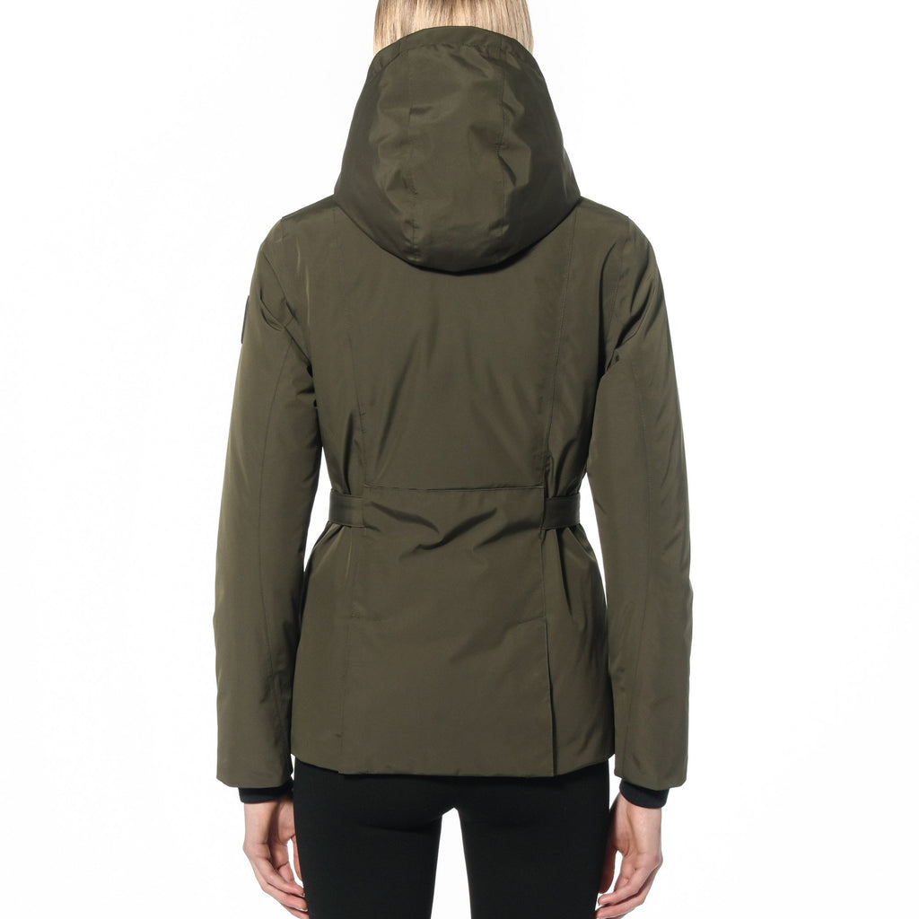 Ladies hip length down-filled parka with non-removable hood and adjustable belt in Fatigue | color