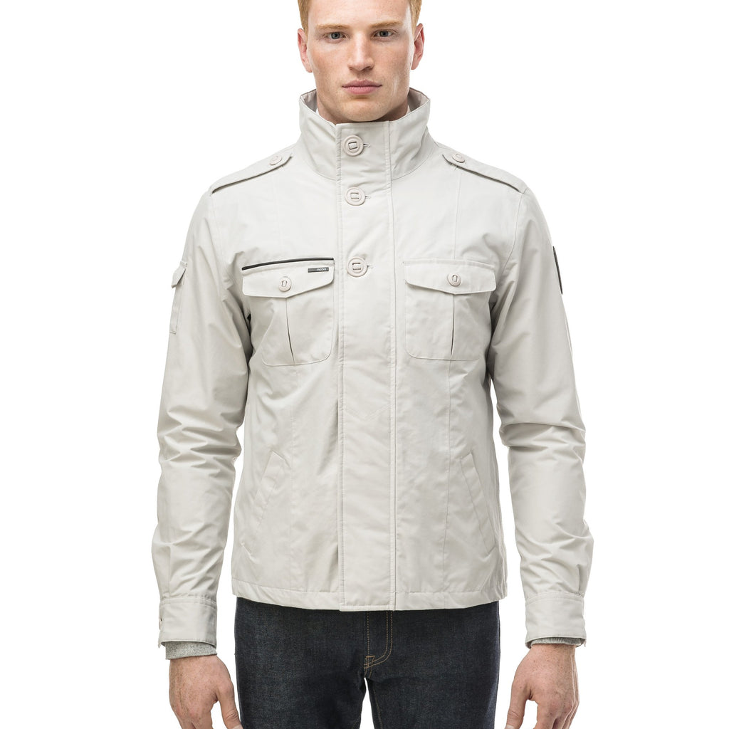 Men's waist length military style jacket in Light Grey. | color