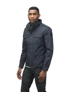 Men's waist length military style jacket in Navy.
