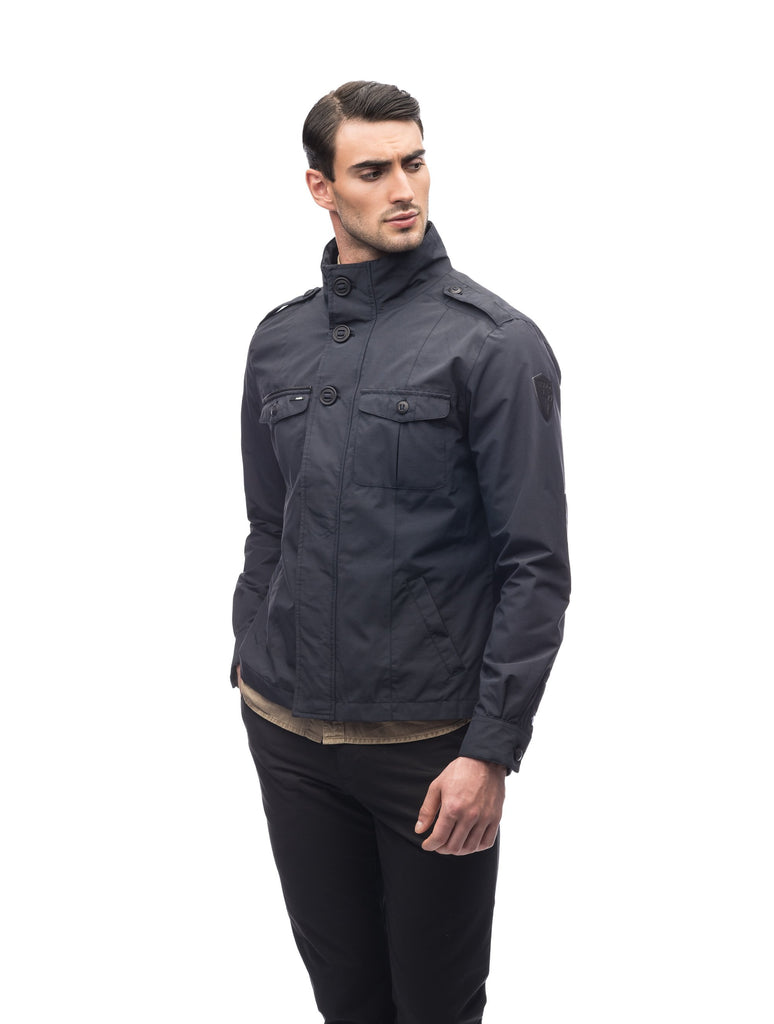 Men's waist length military style jacket in Black.| color