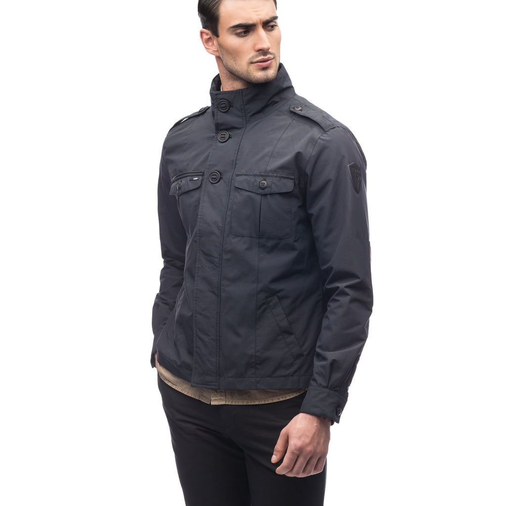 Men's waist length military style jacket in Black. | color