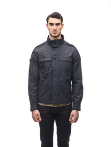 Men's waist length military style jacket in Black.