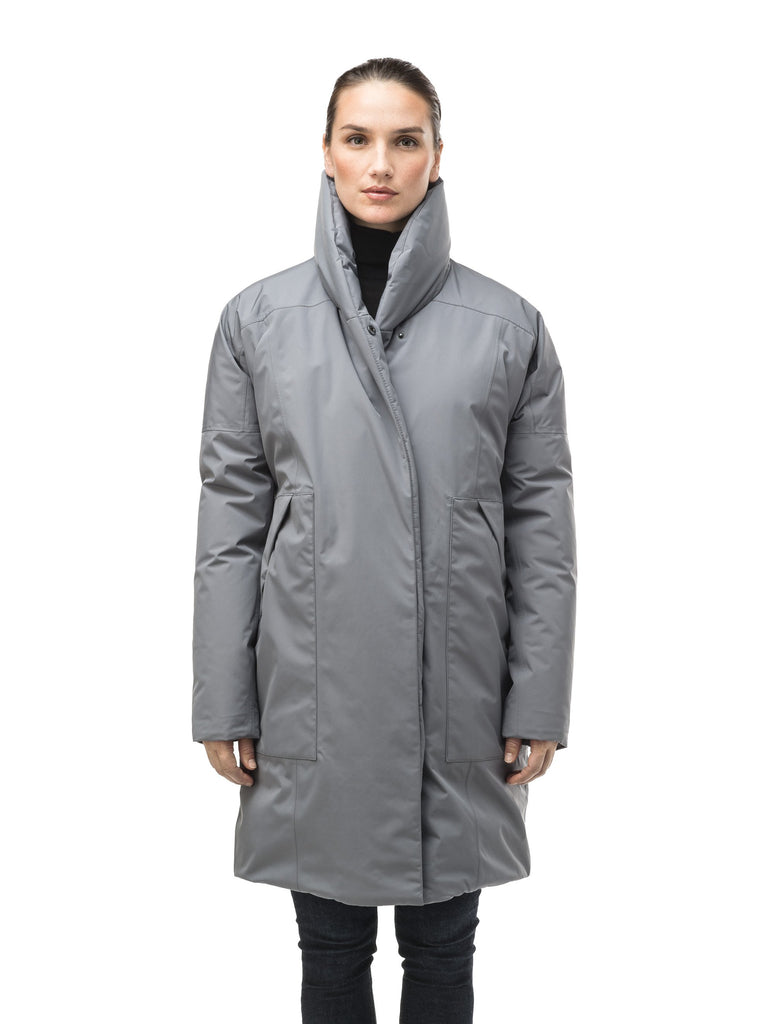 Women's down filled parka with cocoon silhouette and a beautiful shawl collar in Concrete| color