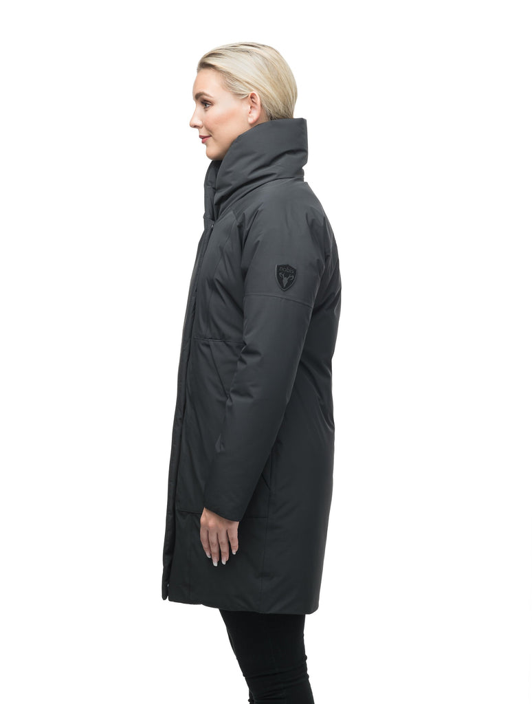 Women's down filled parka with cocoon silhouette and a beautiful shawl collar in Black| color