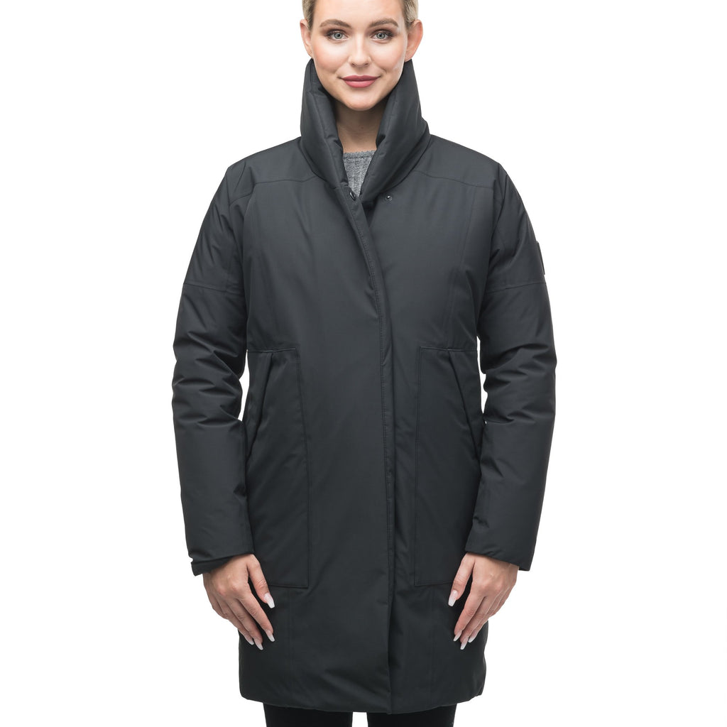 Women's down filled parka with cocoon silhouette and a beautiful shawl collar in Black | color