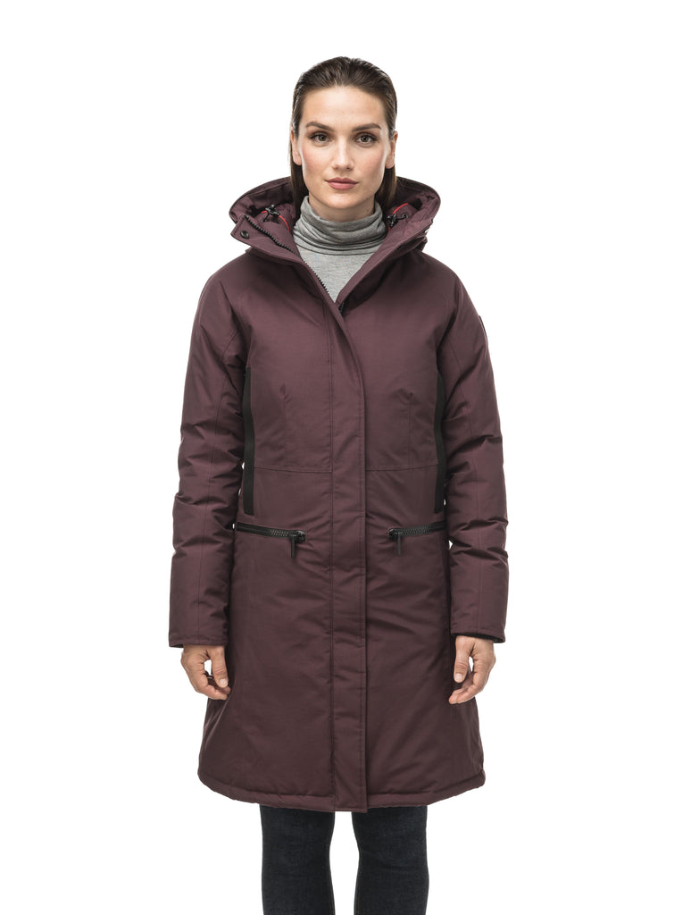 Knee length women's down filled parka with contrast ribbon accents and removable fur trim on the hood in Burgundy| color