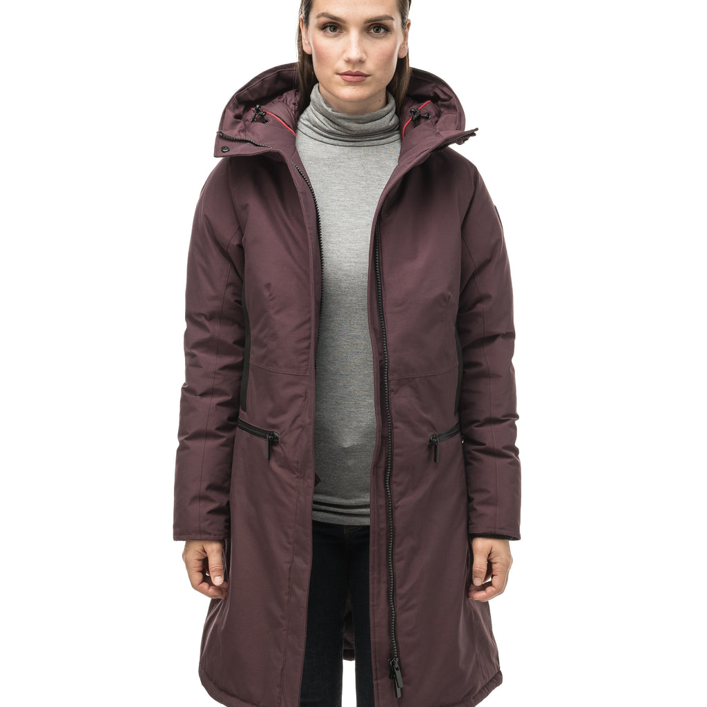 Knee length women's down filled parka with contrast ribbon accents and removable fur trim on the hood in Burgundy | color