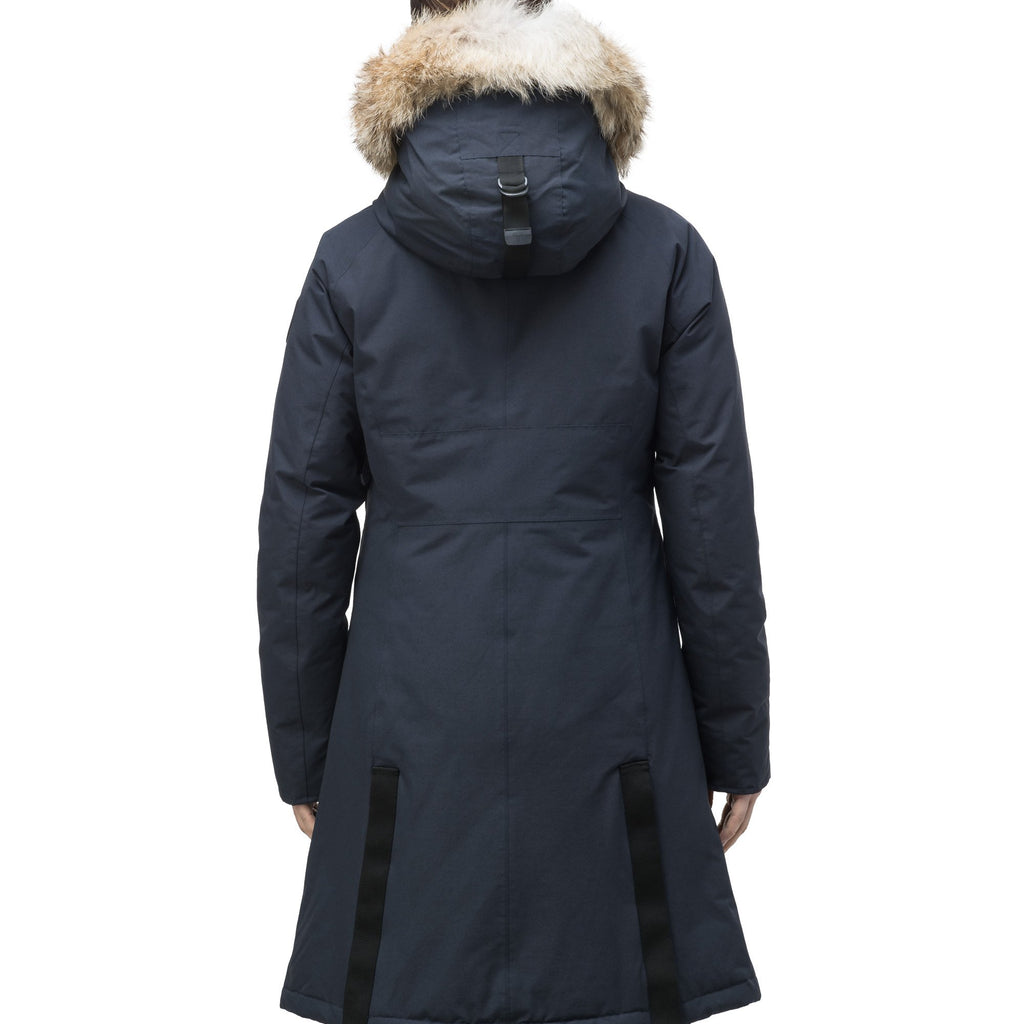 Knee length women's down filled parka with contrast ribbon accents and removable fur trim on the hood in Navy | color