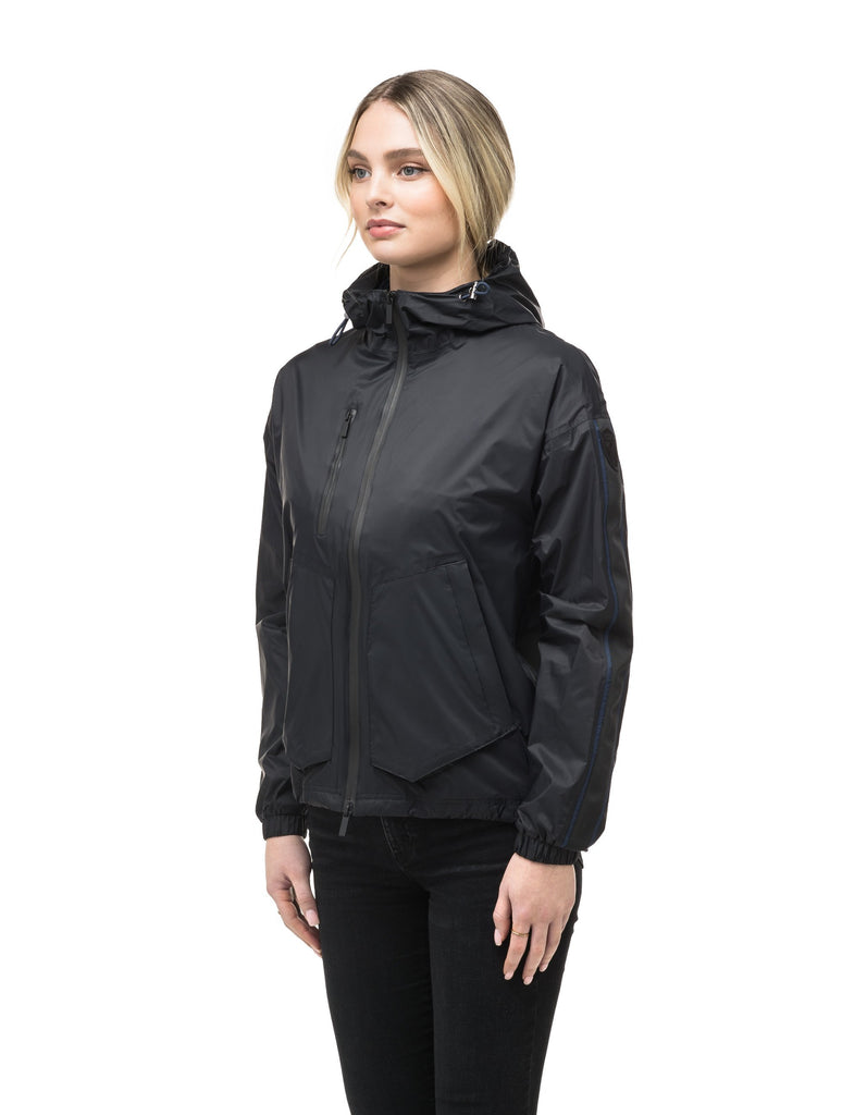 Women's waist length windbreaker with hood in Black| color