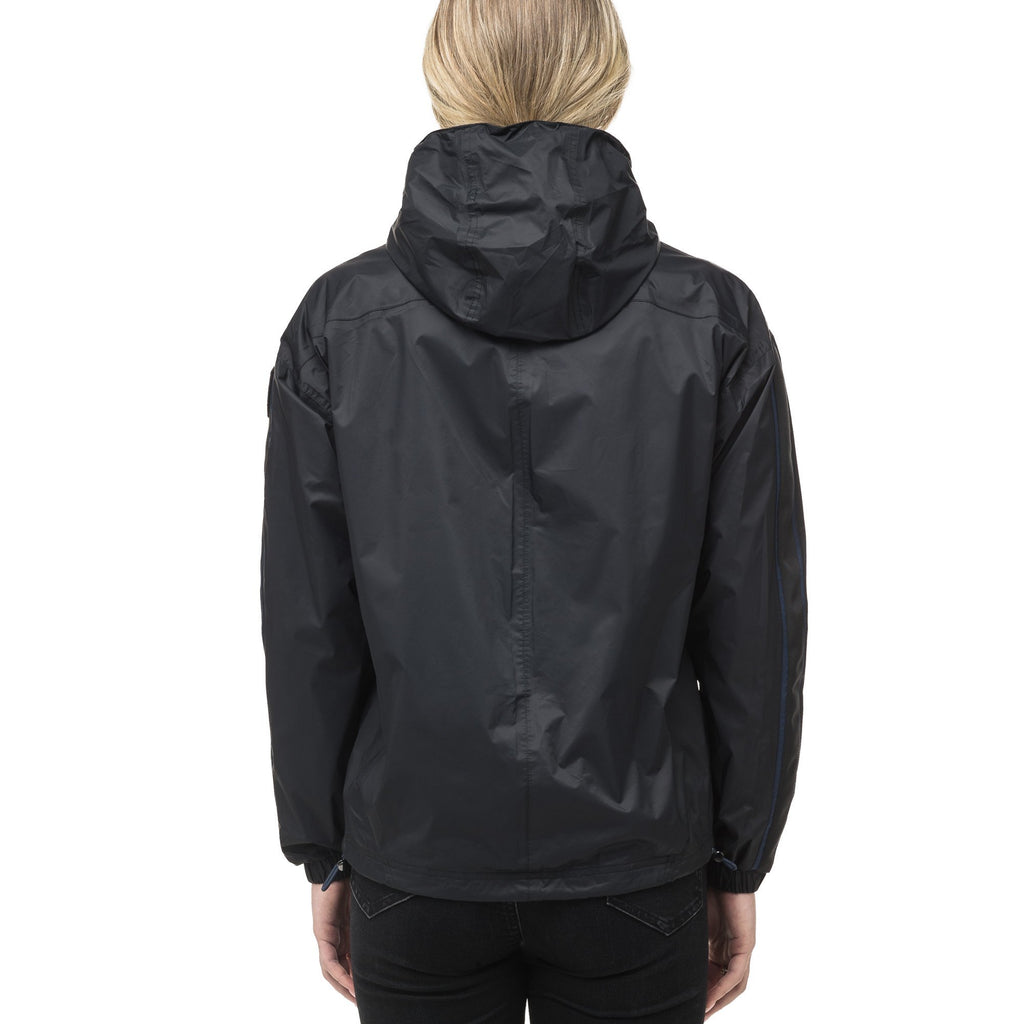 Women's waist length windbreaker with hood in Black | color