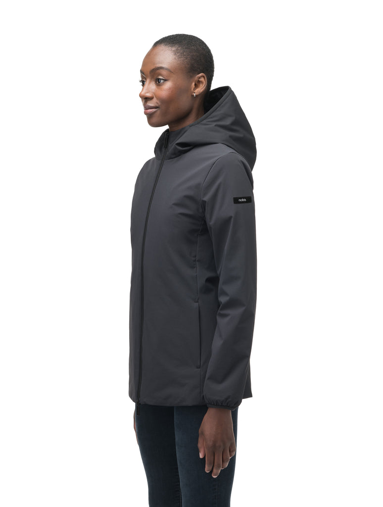 Ladies hip length mid layer jacket with non-removable hood and two-way zipper in Black| color