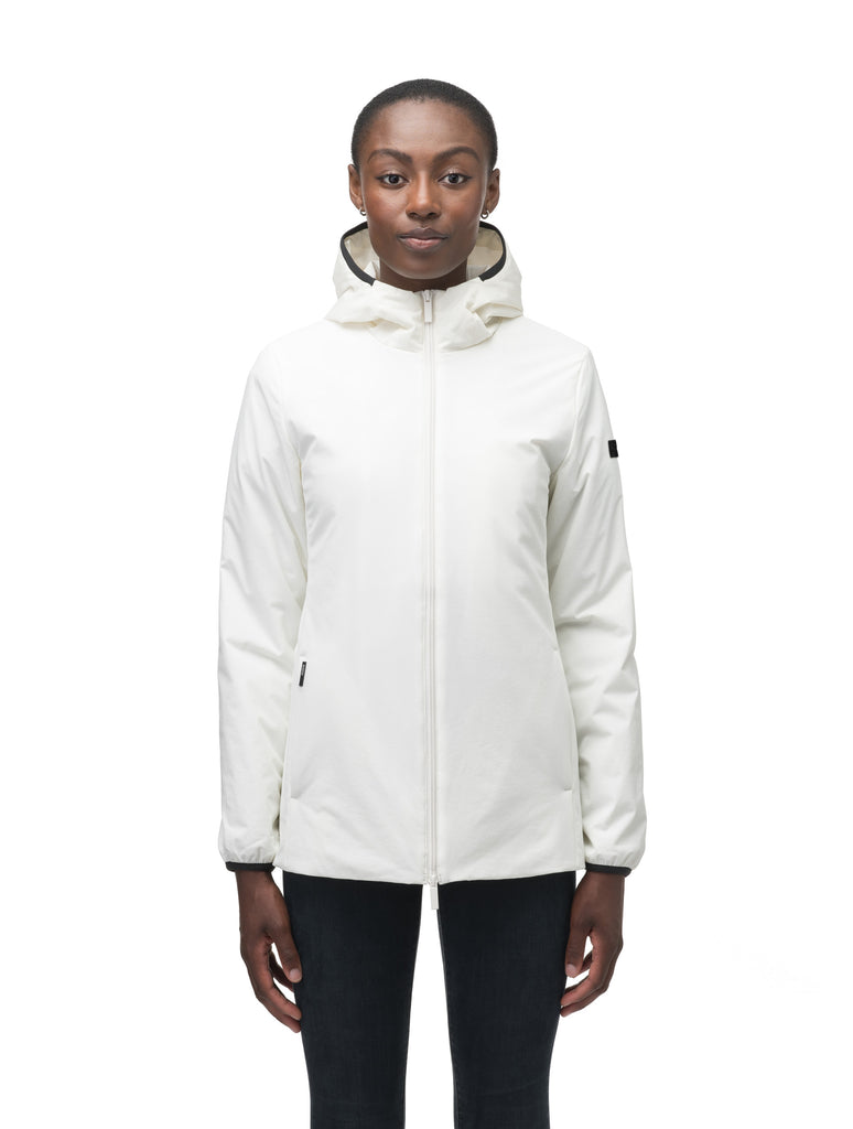 Ladies hip length mid layer jacket with non-removable hood and two-way zipper in Chalk| color
